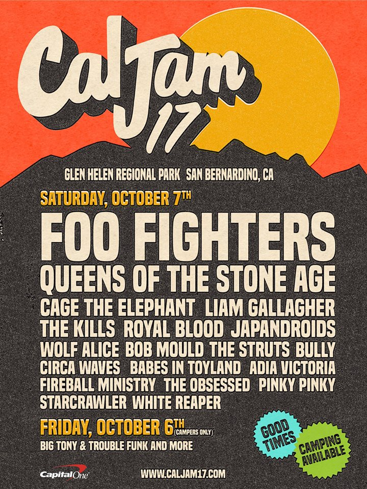 Just announced: October 7th San Bernardino Cal Jam 2017