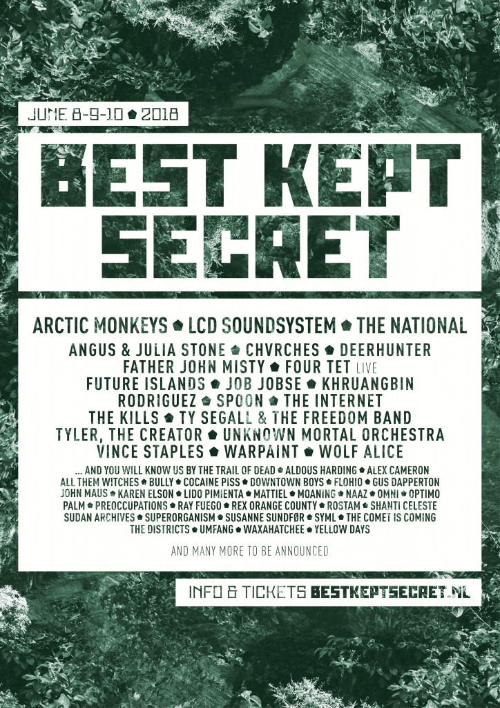 Best Kept Secret Festival Holland, June 8th to 10th, 2018