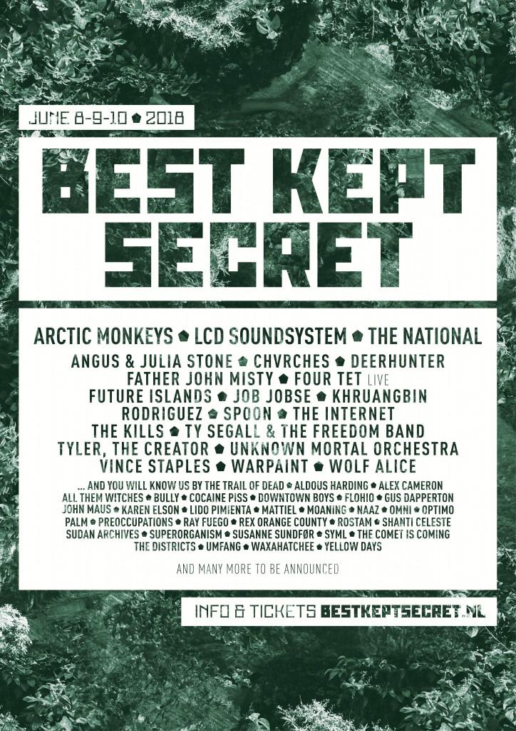 Best Kept Secret Festival Holland, June 8th to 10th, 2018