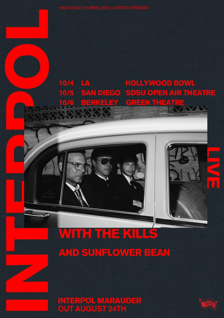 Now on sale: US West Coast shows in October with Interpol
